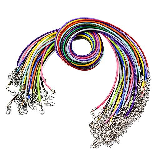 50 Pz Cuerda Collar con Cierre Collares Cordon de Cera Colgantes Cierres Cuerda Collar de Cuentas para Pulsera de Bricolaje Collar Fabricación de Joyas