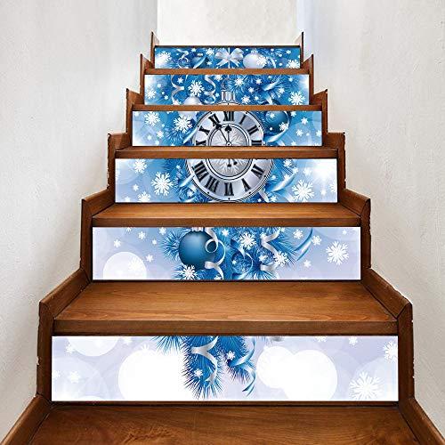 6 Stks/Creatieve Kerst Jurk Up-Blauw Kerstmis Bell Trappen Sticker Zelfklevende PVC Waterdichte Trapsticker Murals, Trap Riser Sticker, Trap Stickers Decals,39.4 X7.08Inch