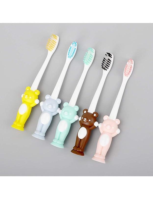 ソーシャルタンザニア上へ子供の歯の漫画のトレーニングの歯ブラシの赤ん坊の歯科治療の歯ブラシ、小さい熊のための4Pcs赤ん坊の衛生的な歯ブラシ