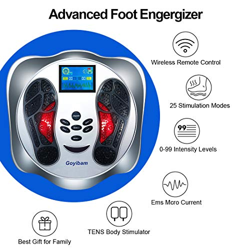 Goyibam EMS Foot Machine, Electronic Plus Massager for Feet Legs and Back, TENS Foot Therapy Machine to Relieve Foot Pain and Tired, 25 Modes, 99 Intensities (Foot Massage Machine)