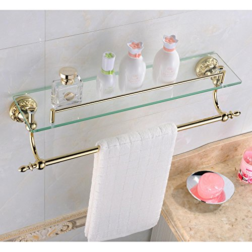 Ouku Wall Mount Bathroom Bath Shower Antique Inspired Ti-pvd Finish Solid Brass Material Glass Shelf Lavatory Accessories Tools and Improvement
