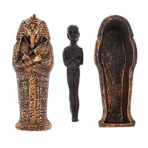 FLAMEER Figura Momia Negra Ataúd Prop para Paisaje Juego de