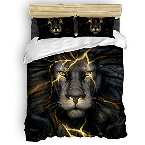 Queen Cute Children Duvet Cover Set for Kids Girls Boys Cool 3D Lion Head Animal Pattern Adult Bed Sheet Set,1 Comforter Cover 1 Flat Sheet and 2 Pillow Cases