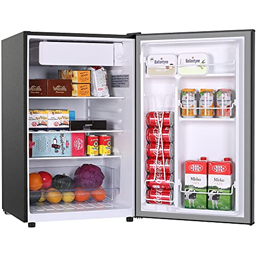 Small Refrigerator,Mini Fridge with Freezer,4.5 Cu.Ft Mini Dorm Refrigerator,Energy Star,Super Quiet,Auto Defrost,Reversible door, Small Fridge for Dorm,Apartment,Bedroom,Office,RV (Black)