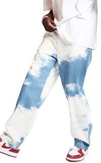 Jeans Hip-Hop Tie-Dye Jeans Larghi Moda Uomo Jeans da Skateboard