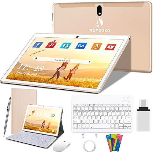 Android 10 Tablets 10 Inch Tablet PC,4G Dual SIM,Quad-Core Processor,Unlocked Tablets 4GB RAM,64GB ROM,8000mAh Battery,Metal Housing,GMS Certified(Gold)