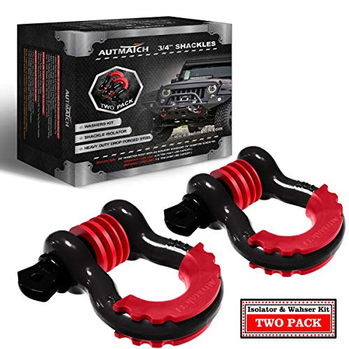 AUTMATCH Shackles 3/4″ D Ring Shackle (2 Pack) 41,887Ibs Break Strength with 7/8″ Screw Pin and Shackle Isolator & Washers Kit for Tow Strap Winch Off Road Accessory Vehicle Recovery Black