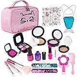 FancyWhoop Juegos de Maquillaje para Niños, 21 Piezas Set de Maquillaje de Princesa, Falsos de Juguete de Kit de Maquillaje con Bolsa de Cosméticos y Bolsa de Sirena para Niñas 3 4 5 6 (21 PCS)