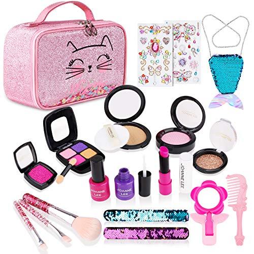 FancyWhoop Juegos de Maquillaje para Niños, 21 Piezas Set de Maquillaje de Princesa, Falsos de Juguete de Kit de Maquillaje con Bolsa de Cosméticos y Bolsa de...