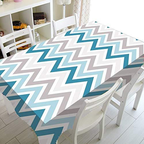 XXDD Mantel patrón geométrico Zigzag Mantel Rectangular Impermeable, Antipolvo y Lavable A2 140x180cm