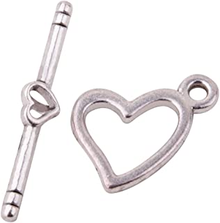 Pandahall 20 Sets 18mm Antique Silver Tibetan Silver Heart Toggle Clasps for Jewelry Making