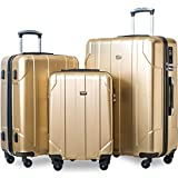 Merax 3 Piece P.E.T Luggage Set with TSA Lock Eco-friendly Light Weight Spinner Suitcase(Light Sunbeam Glow)