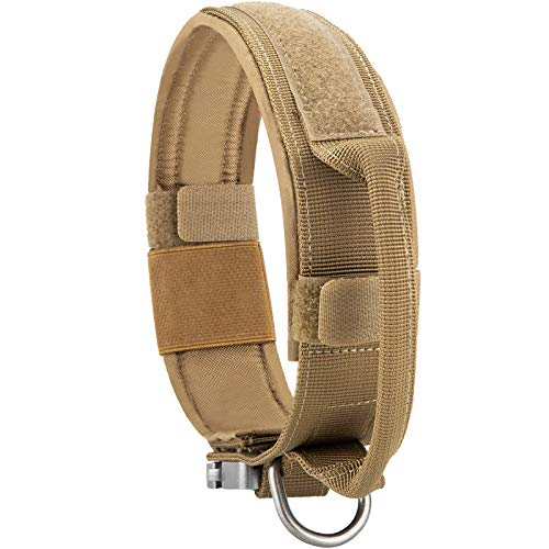 JiePai Tactical Dog Collar Military Training Dog Collar Nylon Adjustable K9 Collar Heavy Duty Metal Buckle with Handle (L, Coyote Brown)