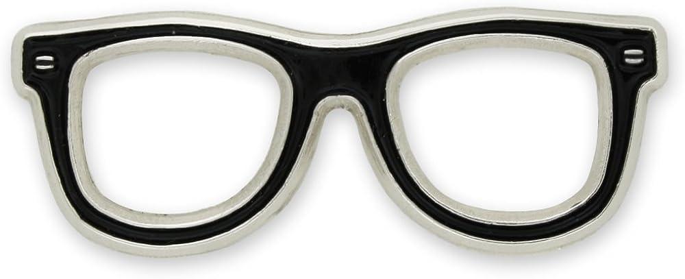 PinMart Black Glasses Frames Enamel Lapel Pin Optometry Eye Doctor Gift