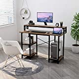 Computer Desk with Shelves - Writing Study Desk with Monitor Stand Shelf/Bookshelves/CPU Stand,Modern Study Table Stable Metal Frame Student Desk for Small Space Home Office Workstation(Walnut)
