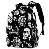Mochila negra y blanca con diseño de calavera náutica, mochila de viaje...