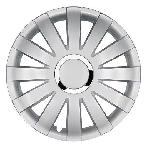 CM DESIGN 16 inch wieldoppen Onyx Silver (zilver met chromen ring). Wieldoppen geschikt voor bijna alle OPEL zoals Vivaro