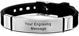 Stainless Steel Rubber Bracelet Bangle Adjustable - Customized Engraving