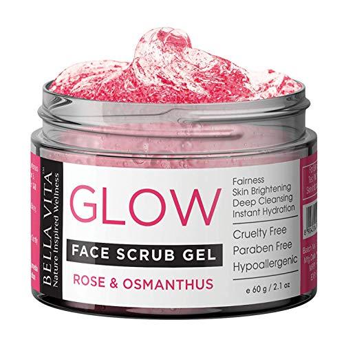 Glamorous Hub Bella Vita exfoliante facial orgánico para mujeres y hombres, piel sensible con rosa, osmanto y granada | Piel iluminadora, blanqueadora, limpiadora y luminosa, 60 g