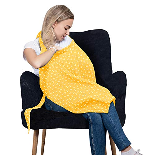 Cotton Nursing Cover – Large Breastfeeding Cover with Built-in Burp Cloth & Pocket – Soft, Breathable, Chemical-Free, 360° Coverage, Yellow Nursing Cover for Breastfeeding by San Francisco Baby