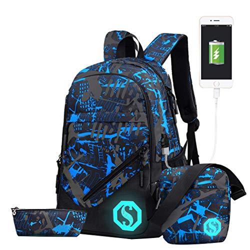 HMMHHE Mochila Ligera para la Escolar Girl Unisex 20l Fashion School Bag Backpack con Marcas de florescentes 3 Sets / 2 Juegos (2 0L, USB Colorg 3 Sets) (Color : USB Colorg 3 Sets, Size : 20L)