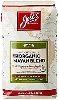 Jose's Whole Bean Coffee, 2lb 8 oz/40 oz 100% Certified USDA Organic Mayan Blend 100% Arabica Coffee Value 5 Packk