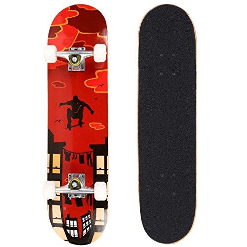 ANCHEER Skateboard Monopatín 79x19cm Patinetas Estándar Completas para Niños Jóvenes Principiantes,Cubierta de Madera de Arce Canadiense 7 Capas con Rodamientos ABEC-7 Carga Máxima 80 kg (Rojo)