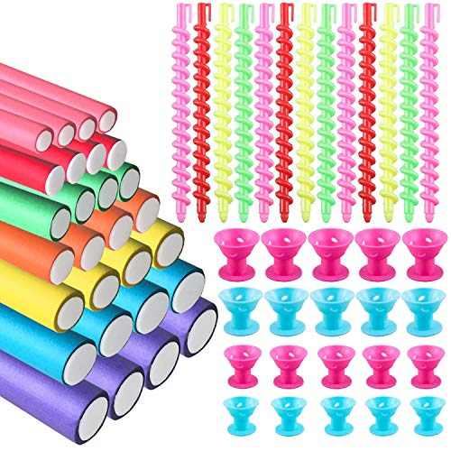 (3 In 1) Total 71 Pcs Heatless Hair Curlers Rollers Set for Medium Long Short Hair, Spiral Hair Flexi Perm Rods & Soft Silicone Curlers & Foam Flexible Curling Rods, Curlers You Can Sleep in