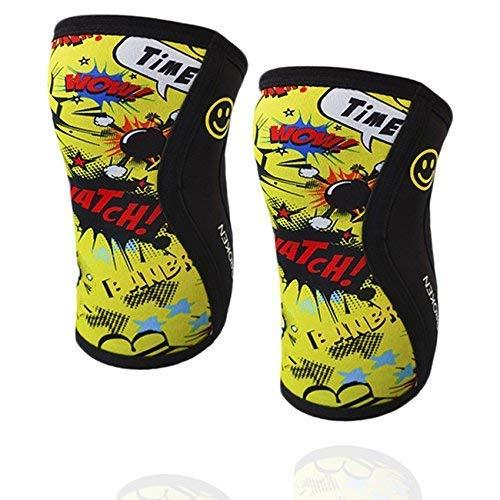 Rodilleras YELLOW FUN (2 unds) - 5mm Knee Sleeves - Halterofilia, deporte funcional, CrossFit, Levantamiento de Pesas, Running y otros deportes. UNISEX AMARILLO 1 PAR (L).