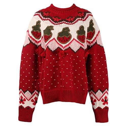 AAJTCT Mode Persoonlijkheid Nieuwe winter aardbeien golf patroon botsing kleur trui vrouwen ronde hals haak bloemen zoet