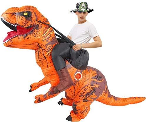 TBBE Disfraz inflable de dinosaurio de 150 a 190 cm, divertido disfraz para adultos y hombres y mujeres, disfraz de fiesta de cosplay, color amarillo