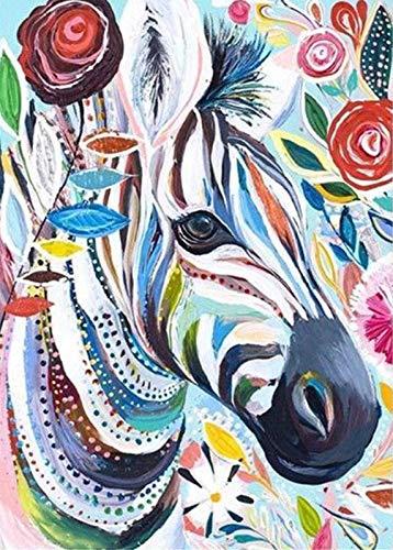 Kit Fai Da Te 5D per Pittura a Diamante per Adulti Astratto Zebra per Dipingere con i Numeri Mosaico Painting Puzzle 5D con Strass Ricamo Punto Croce kit Decorare la Parete 30 x 40 cm