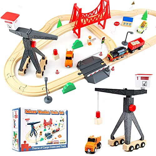WOOD CITY Wooden Train Set, 56-Piece Deluxe Kids Toy Train Set for 2 3...