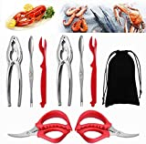 9Pcs Seafood Tools Set Stainless Steel Forks Opener Crab Lobster Crackers Shellfish Lobster Crab Leg...