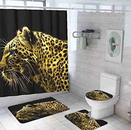 Leopard Duschvorhang Set 4-Teilig, Duschvorhang Wasserdicht + Badematte + U-Förmige Konturmatte + Toilettensitzbezug + 12 Haken
