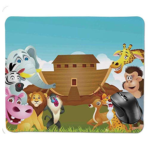 Quality Selection Comfortable Mouse Pad,The Ark Illustration Before Journey All Animals Myth Faith Grace Old Stories Mouse Pad