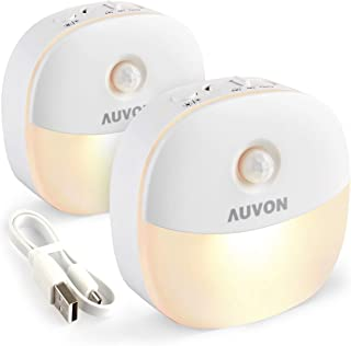 AUVON Rechargeable Motion Sensor Night Light, Warm White LED Stick-On Closet Light with Dusk to Dawn Sensor, Adjustable Br...