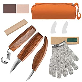 Olerqzer Wood Carving Tools for Beginners 12-in-1 Wood Carving Kit with Carving Hook Knife Whittling Knife Chip Carving Knife Gloves Carving Knife Sharpener for Spoon Bowl Kuksa Cup
