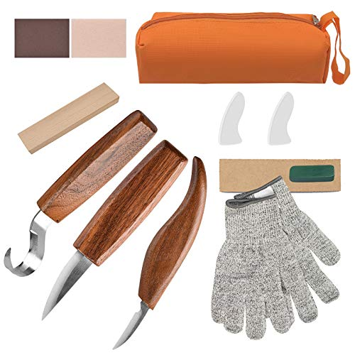 Olerqzer Wood Carving Tools for Beginners, 12-in-1 Wood Carving Kit with Carving Hook Knife, Whittling Knife, Chip Carving Knife, Gloves, Carving Knife Sharpener for Spoon, Bowl, Kuksa Cup