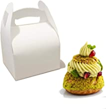 White Cardboard Pastry Cake Cupcake Boxes for One Pastry - 4.3'' x 4'' x 2.5'' - Pack of 50