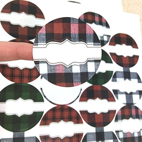 54 Buffalo Lodge Christmas Plaid Poly Weatherproof Round Labels - for Essential Oil Aromatherapy Bottle or Jar by Rivertree Life