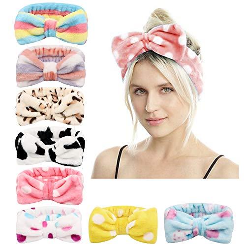 DRESHOW Spa Stirnband Bowknot Haarband für Make up - 8 Stück Kosmetische Stirnbänder Korallen Samt Elastisches Haarband zum Waschen Yoga Gesichtspflege Make-up für Damen