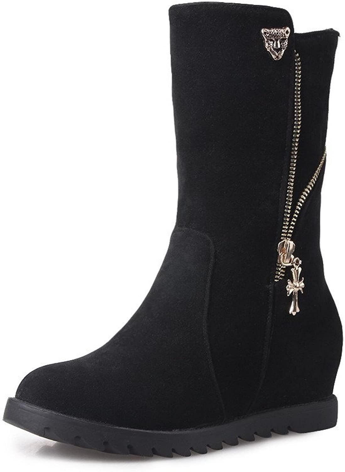 AllhqFashion Women's Pull-On Kitten-Heels Imitated Suede Solid Low-Top Boots