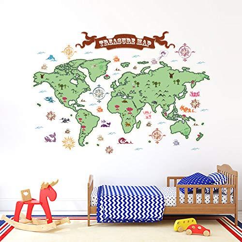 onetoze Pegatinas Pared Mapa Mundi vinilos de pared decorativos Paises Adhesivos Pared Decorativos Animals Dormitorio Salón Guardería Habitación Infantiles Niños Bebés,90x130cm