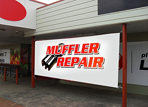 """UGOS Excellent Quality -""""Muffler Repair"""" Banner Sign - Ready to Use Perfect for Outdoor Use (Size: 24 x 72)"""
