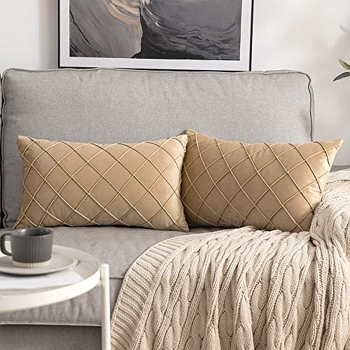 MIULEE 2 Unidades Funda de Cojines Terciopelo Suave Color Sólido Funda de Almohada Moderna Duradera Decoración para Habitacion Sofá Comedor Cama Dormitorio Oficina Sala de Estar 30x50cm Caqui