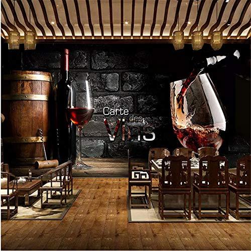 Wuyii muurschildering 3D, personaliseerbaar, motief: Europese stijl, rode wijn, metselwerk, metselwerk 400 x 280 cm
