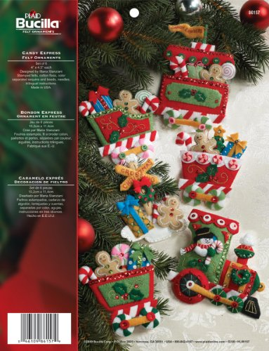 Bucilla Felt Applique Ornament Kit, 86157 Candy Express(Set of 6)