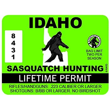 """RDW Idaho Sasquatch Hunting Permit - Color Sticker - Decal - Die Cut - Size: 4.00"""" x 3.00"""""""