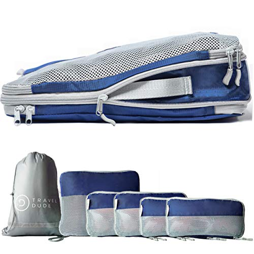 TRAVEL DUDE Packwürfel Set mit Kompression aus recycelten Plastikflaschen | Packing Cubes | Packtaschen Set für Rucksack & Koffer | Extra leichte Kleidertaschen (Marineblau, 7-teilig)